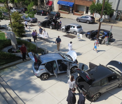 Last week, dozens of electric vehicle drivers and enthusiasts participated in two consecutive lunch-time events in downtown Norristown.(Image via driveelectricweek.org)