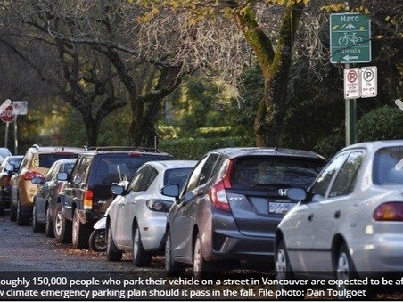 Vancouver plan to cut emissions floats $1,000 annual parking fee for heavy polluters - CoastReporter