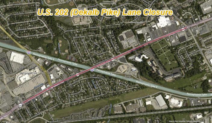 U.S. 202 (Dekalb Pike) Lane Closure Next Week for Traffic Camera Installation in Upper Merion
