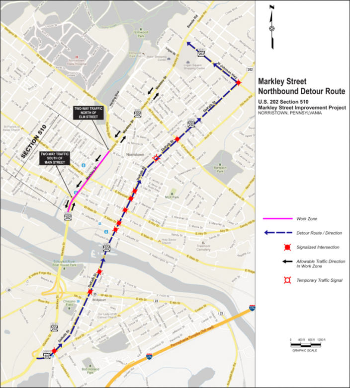 Markley Street (U.S. 202 South) Lane Closures Next Week for Construction in Norristown