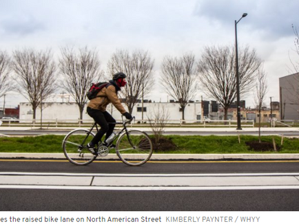 Philly's first raised bike lane with a concrete buffer is nearly complete - PlanPhilly