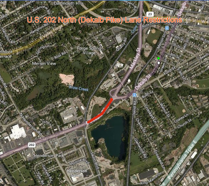 U.S. 202 North (Dekalb Pike) Restricted in Upper Merion Township, Montgomery County
