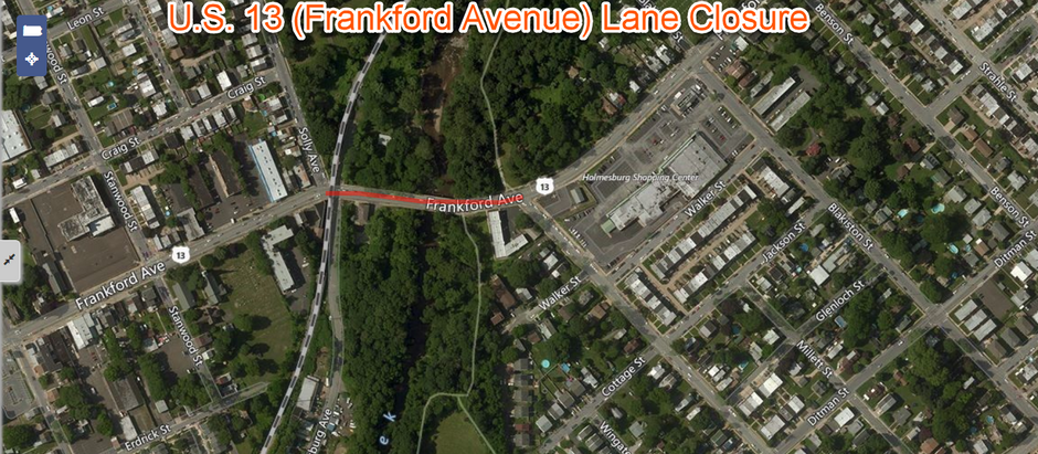 U.S. 13 (Frankford Avenue) Lane Closure Scheduled Thursday for Roadway Repair in Philadelphia