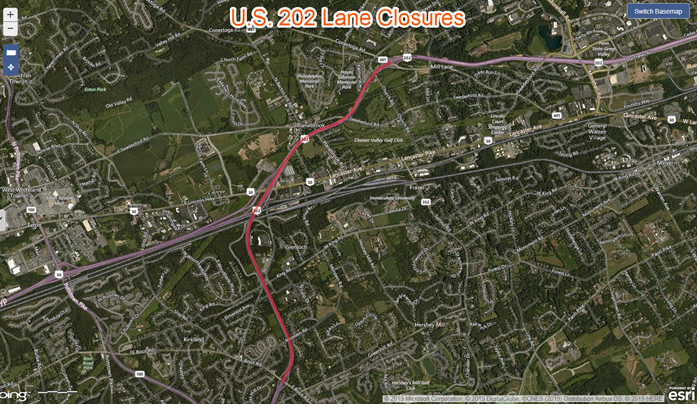 U.S. 202 Lane Closures at Night Next Week for Bridge Painting in Chester County