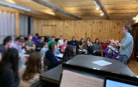 Teaching the choir at Rocky Ridge Music Center