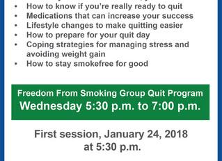 Quit Smoking!  Wednesdays at 5:30pm