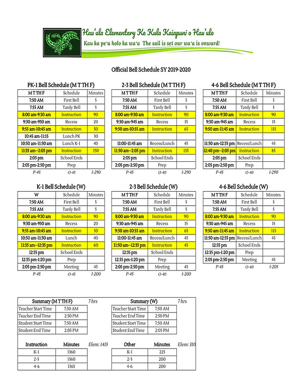 Official Bell Schedule 2019-2020 - Offic