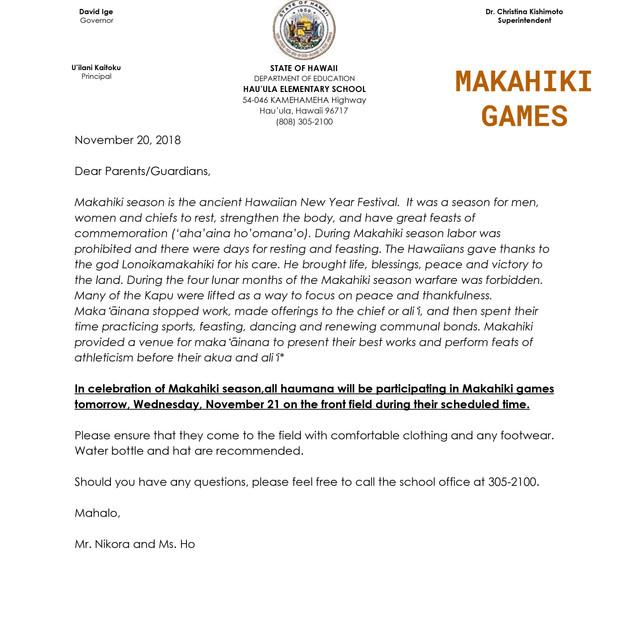 Hauula Elementary Makahiki 2018.Letter H