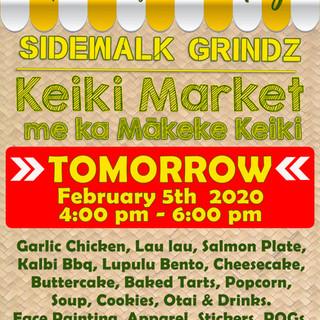 Sidewalk Grinds & Keiki Market. TOMORROW