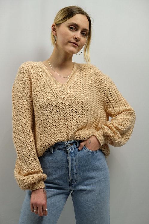 Vintage 80s V-Neck Pullover  - M