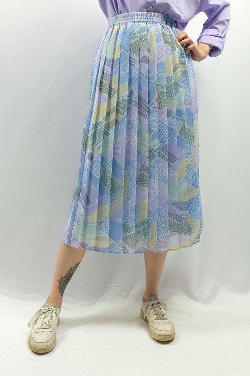 Vintage 80s High Waist Plisseerock  - XL