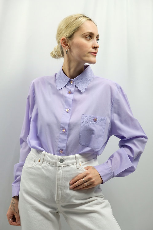 Vintage 80s Embroidery Bluse  - L