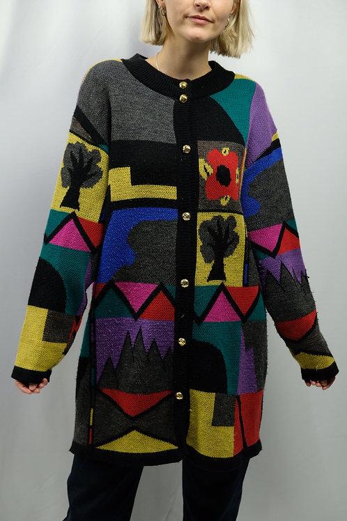 Vintage 80s Long-Cardigan  - XL