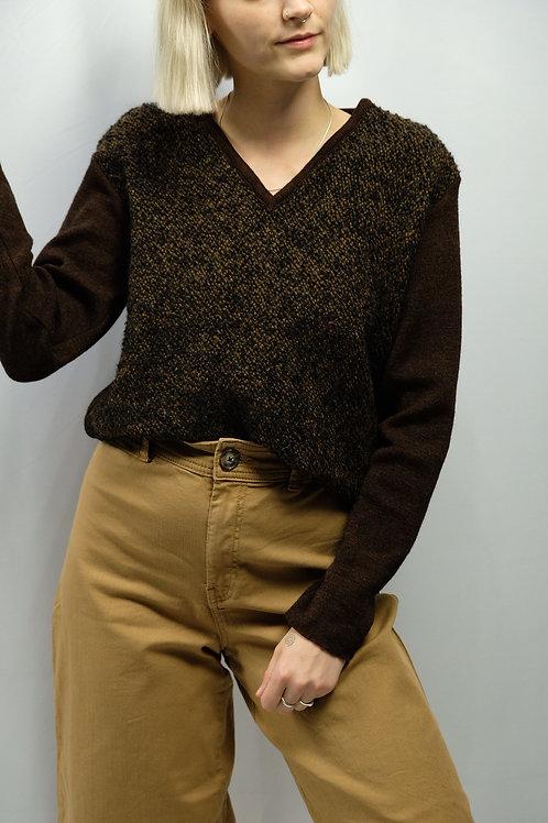 Vintage V-Neck Tweed-Pullover  - S