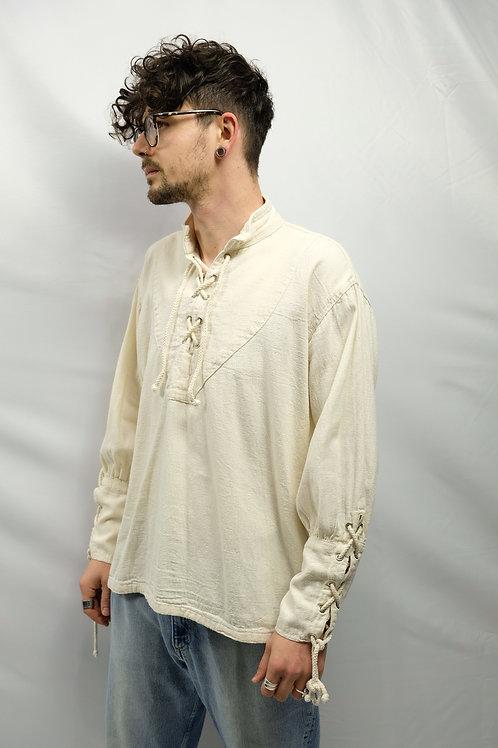 Vintage Baumwollhemd mit Kordeln  - M