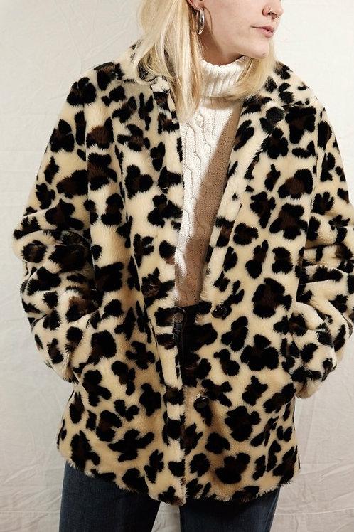 Vintage Fake-Fur Leomantel  - S