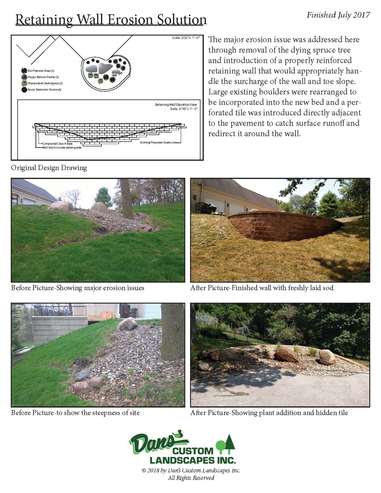 Retaining wall erosion solution