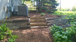 Rebuilt Limestone wall with steps