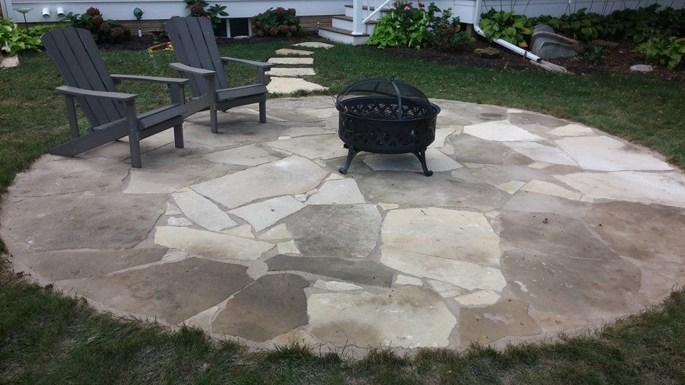 Natural limestone patio