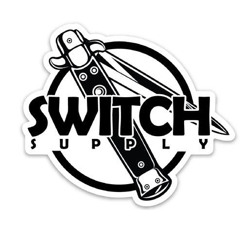 "Switch Logo diecut decal 5.0"" - clear / black"