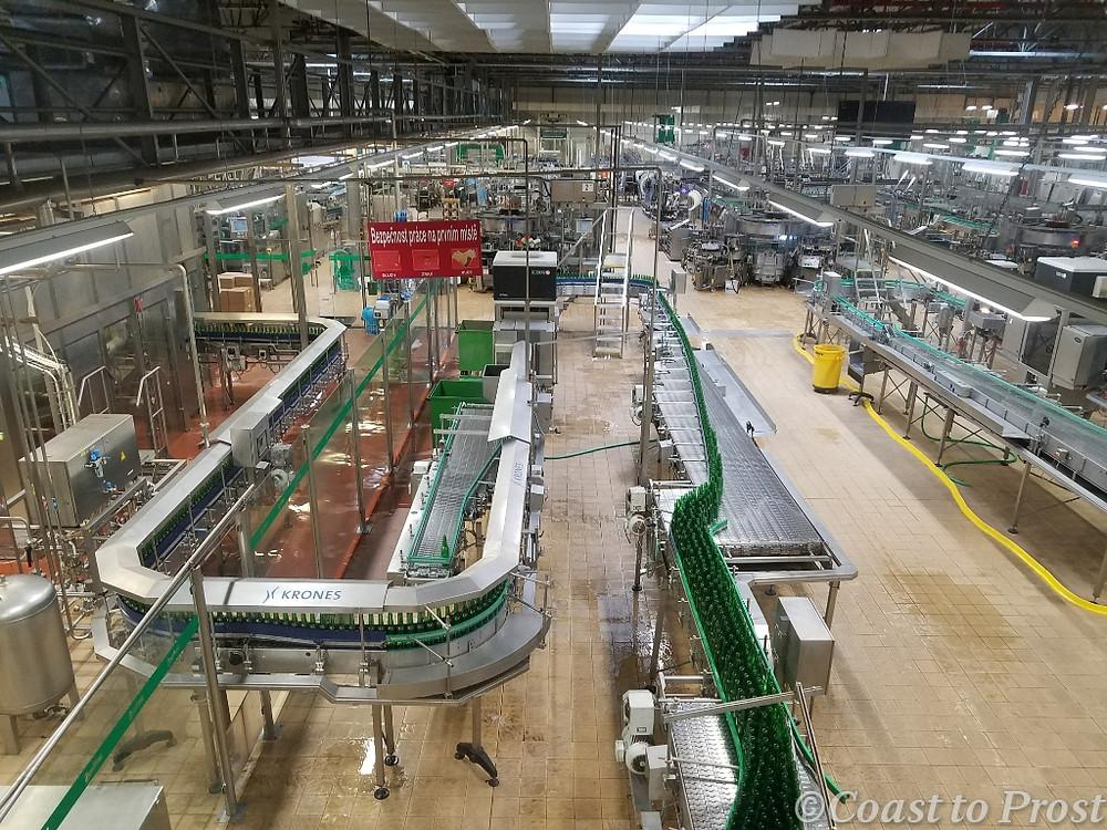 bottling line at Pilsner Urquell brewery