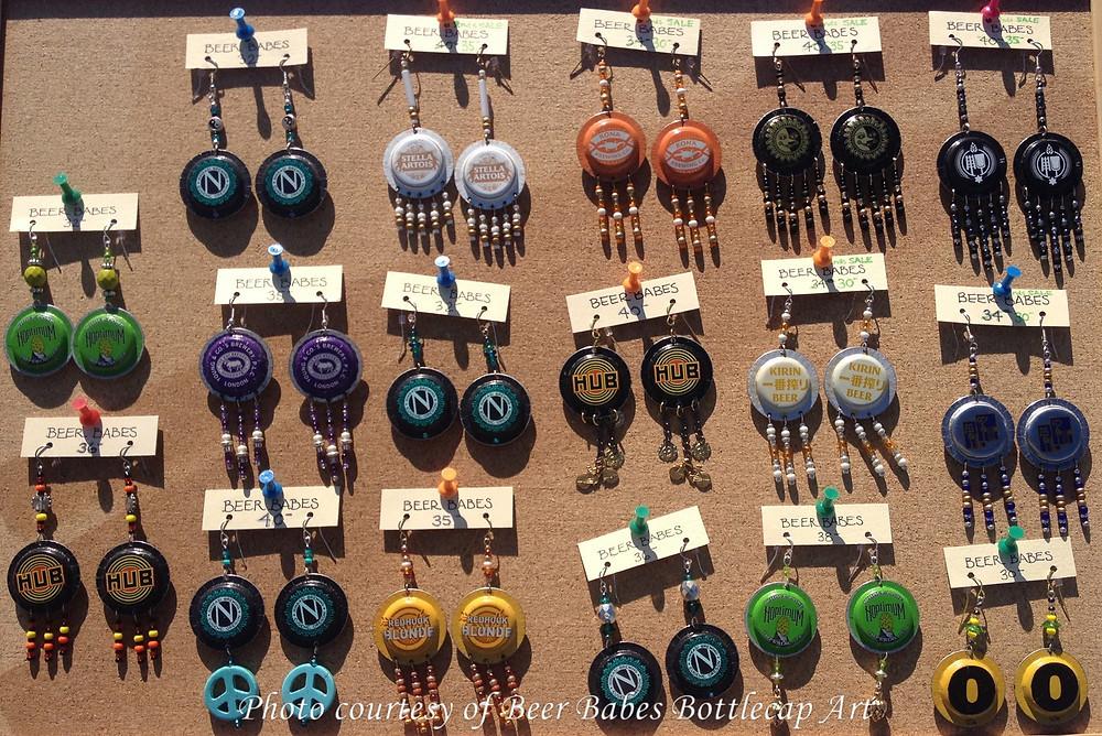 Beer Babes Bottlecap Art earrings