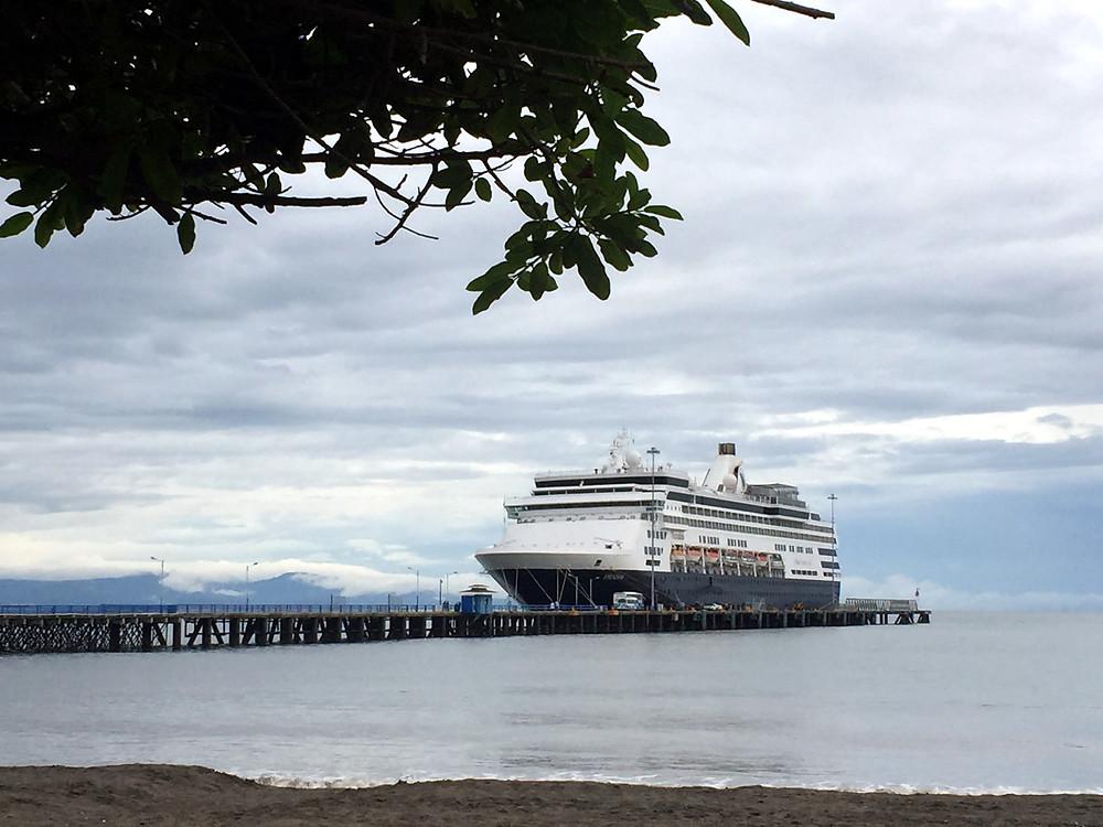 Holland America Lines Veendam at port in Puerto Caldera, Costa Rica