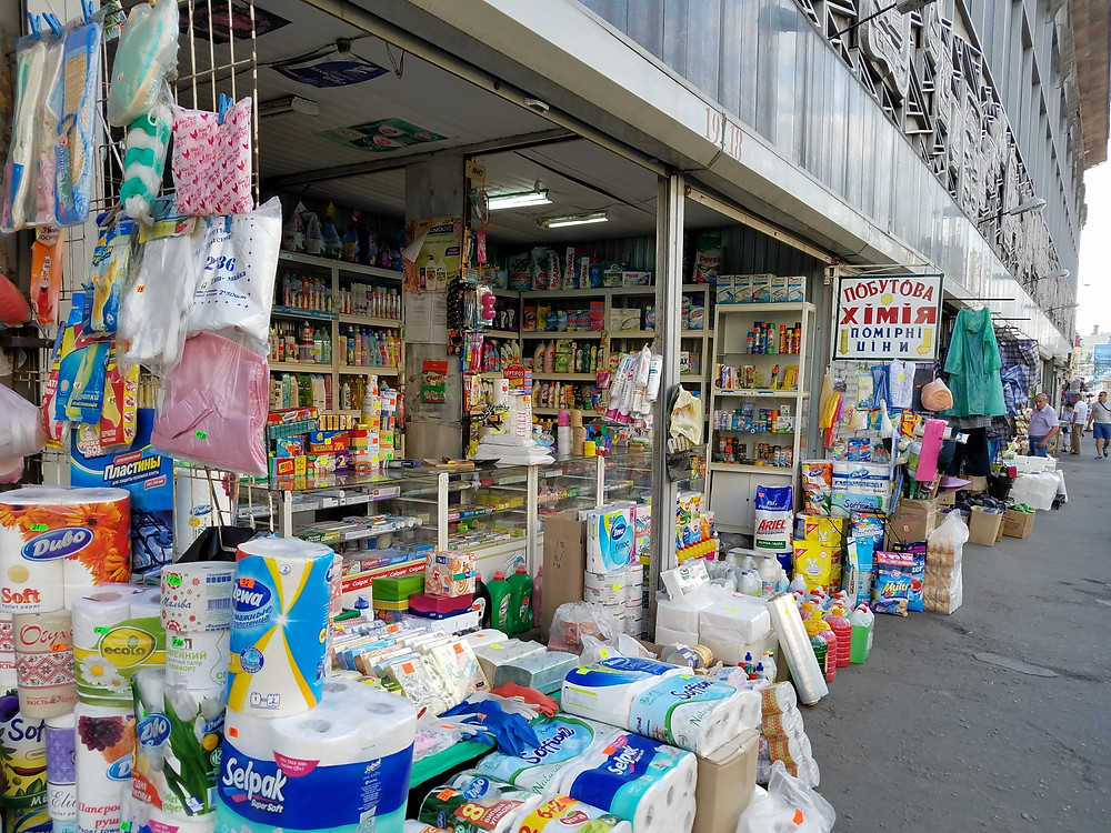 household goods market stall in Kiev, Ukraine