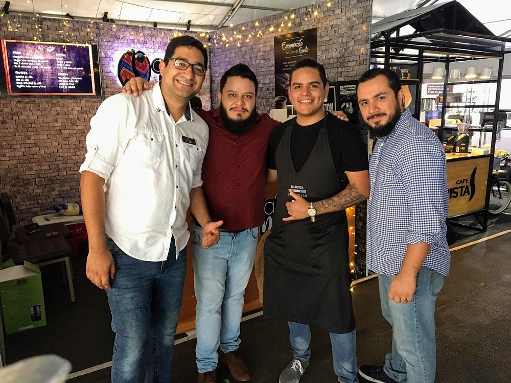 Andrés Rodas, Oscar Obando, Alejandro Miranda and Samuel Marroquín at Coffee Fest