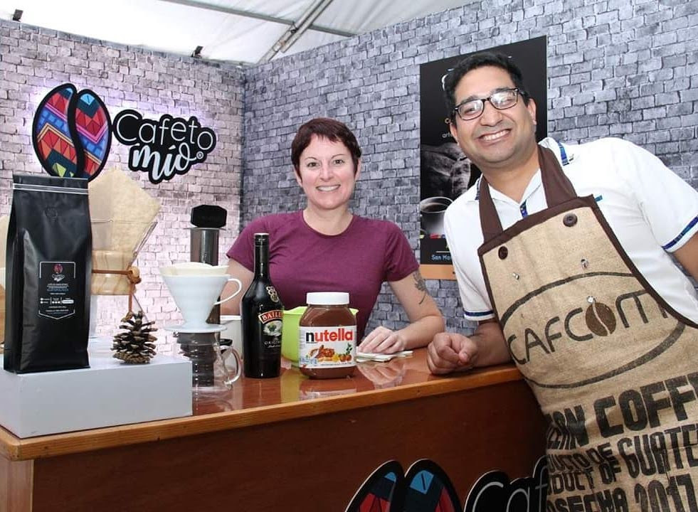 Alethea and Andres working at the Cafeto Mio booth; photo courtesty of Coffee Fest