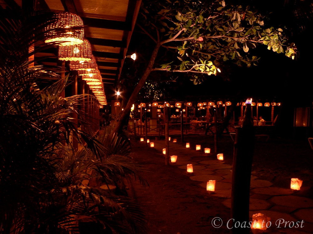 candle lit path to bar at Anse Chastenet resort St Lucia