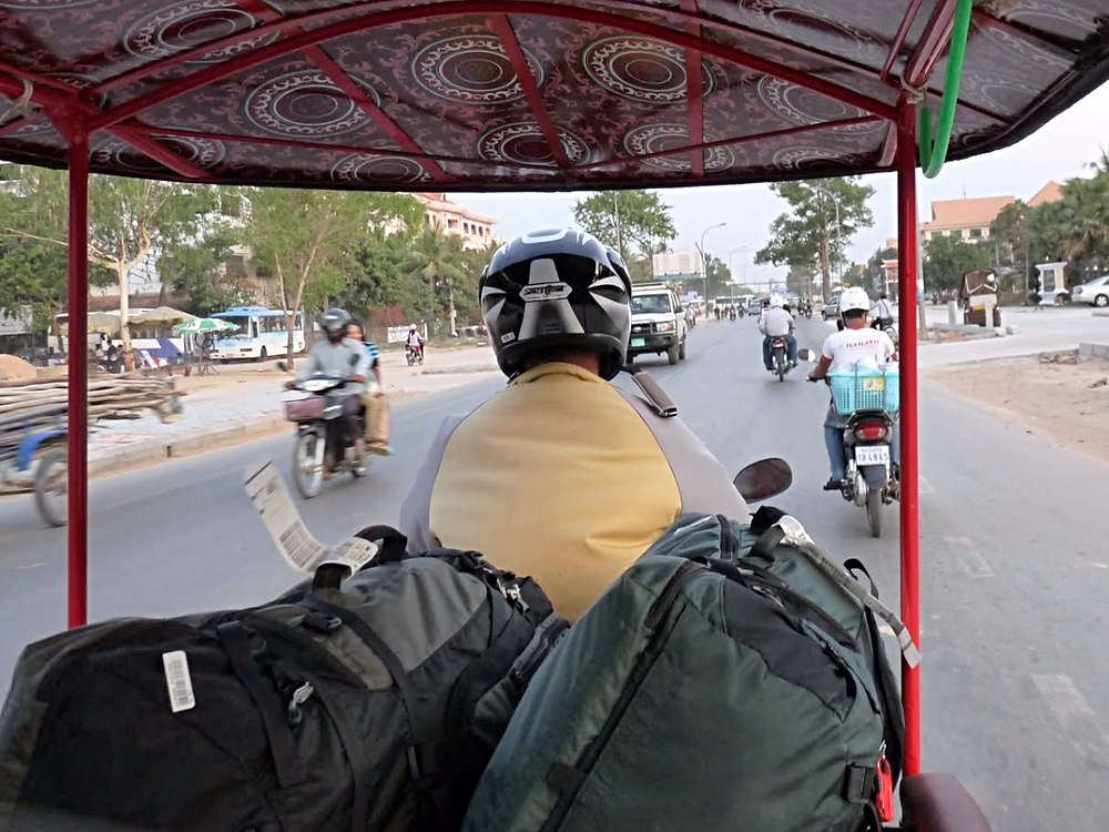 backpacks in a tuk tuk in Vietnam