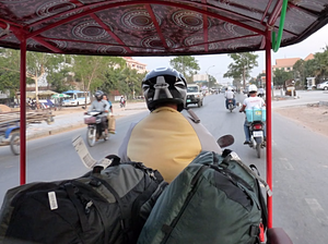 backpacks in a tuk tuk in Vietnam
