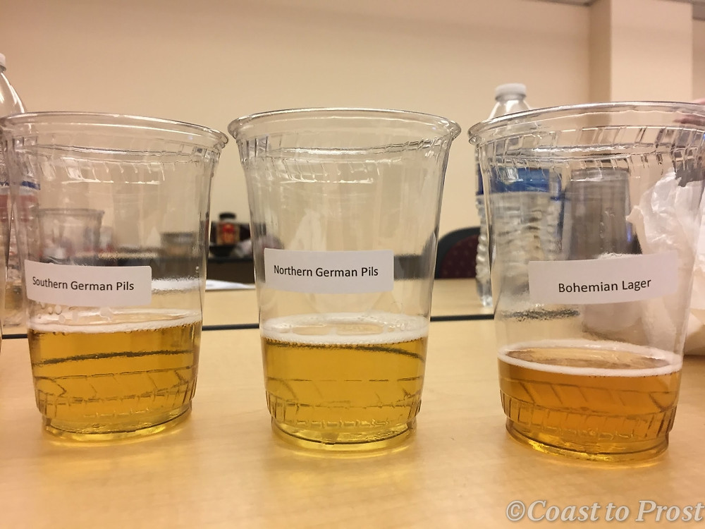 samples cups of pilsner beer