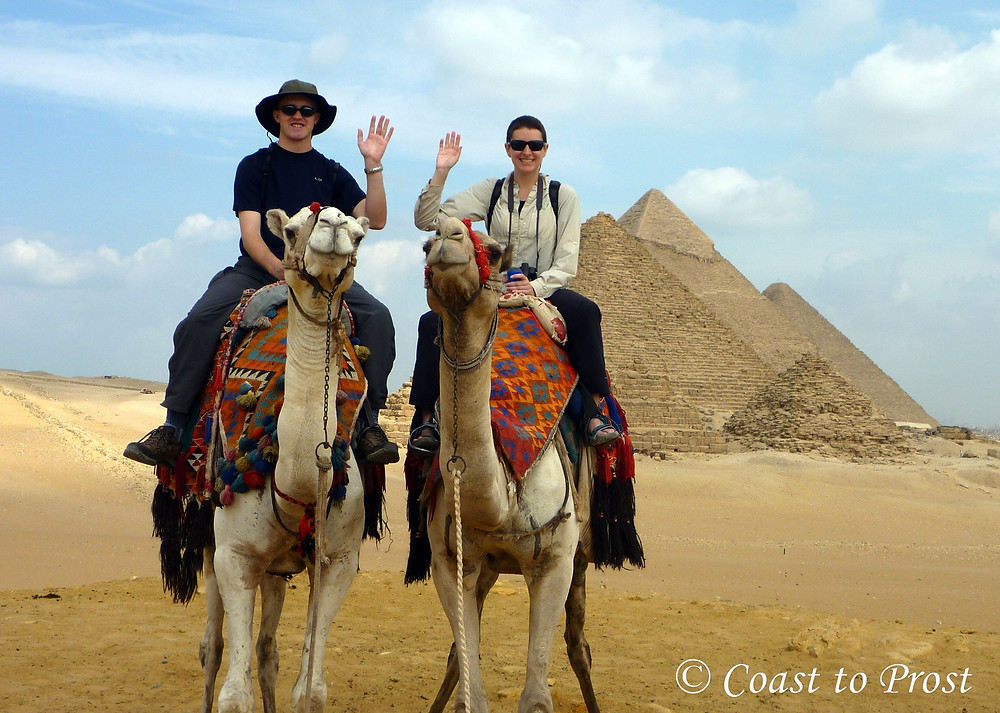 riding camels in Egypt at the Great Pyramids