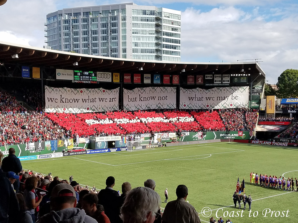 Portland Thorns soccer supporters fans cheer on team before start of match