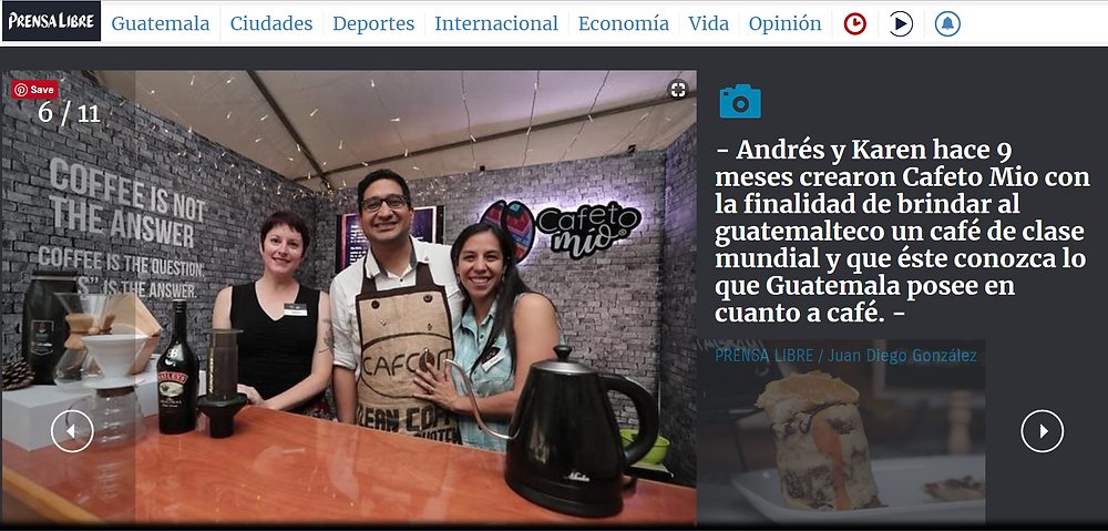 Screenshot from Prensa Libre website