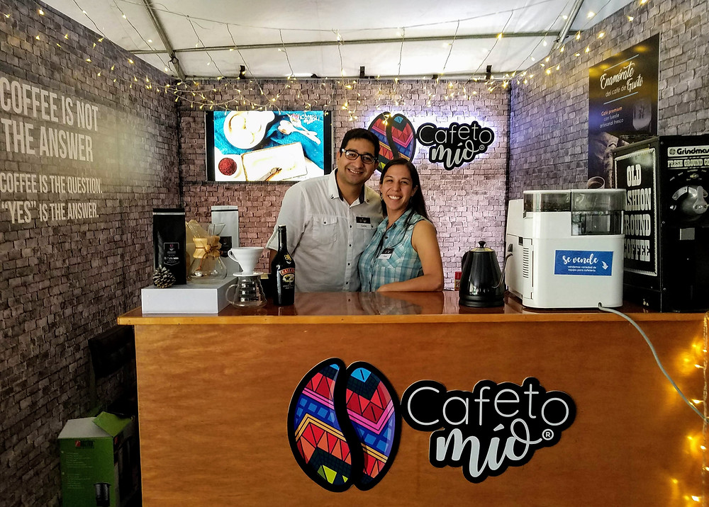 Andrés Rodas and Karin Sequen at the Cafeto Mío booth at Coffee Fest
