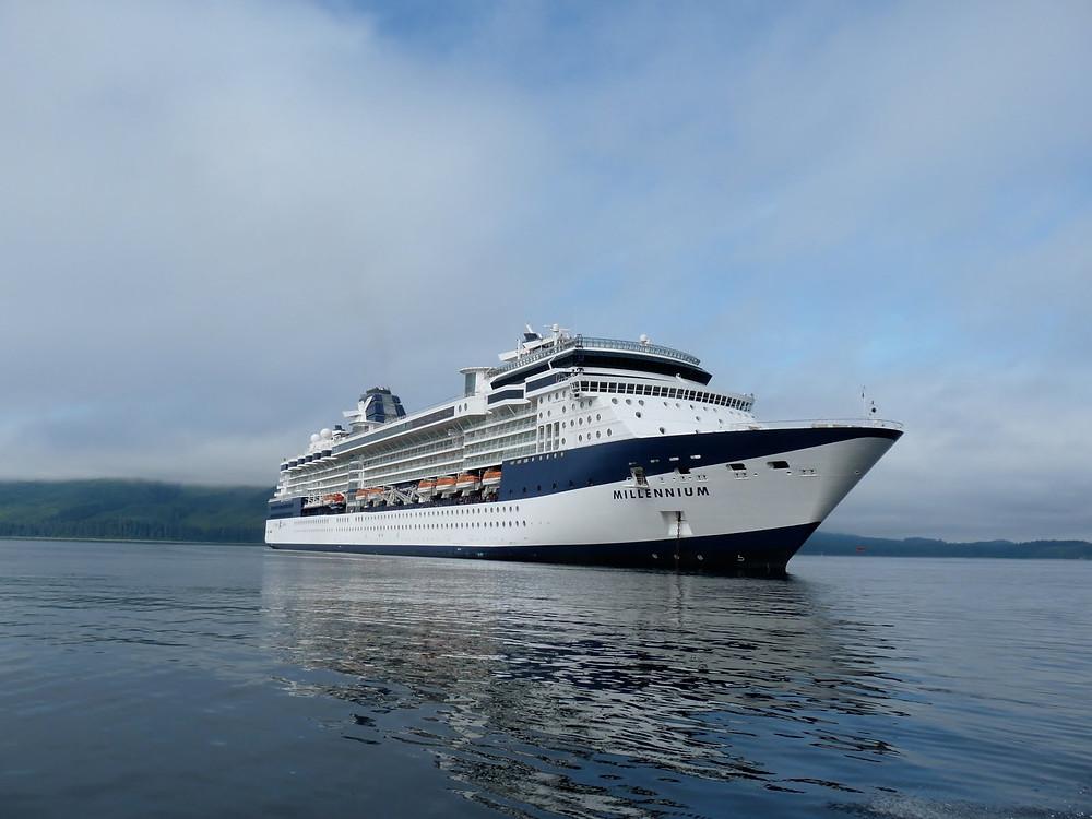 Celebrity Millennium anchored in Icy Strait Point, Alaska