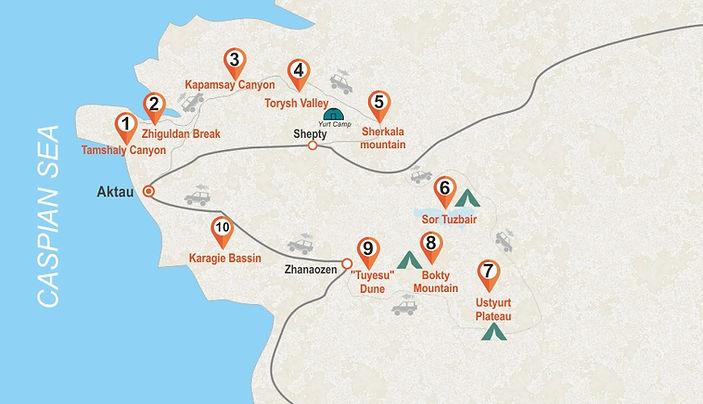 Ustyurt Plateau-Tour-map