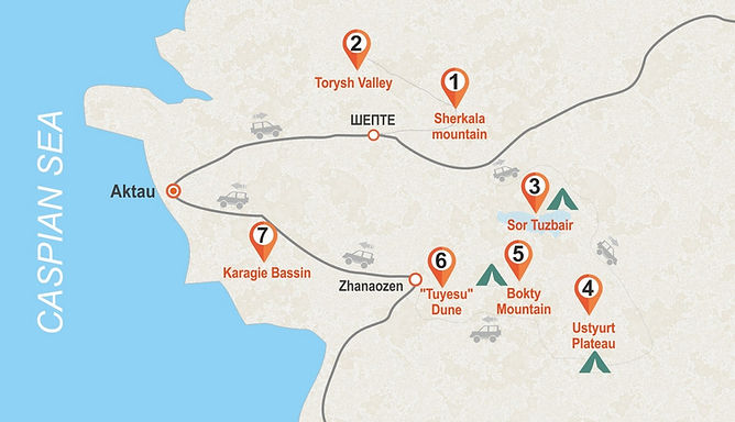 Ustyurt Plateau - map