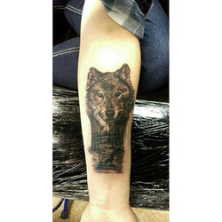 wolf and forest tattoo