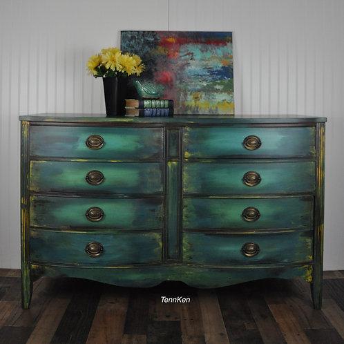 Vintage Dresser - Bohemian Blue with a splash of Goldenrod