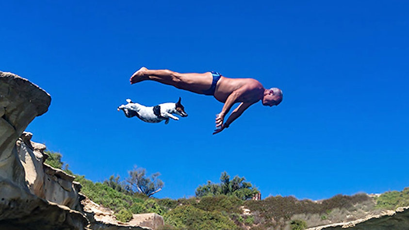dog and man diving off of cliff