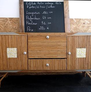 Enfilade Rotin vintage 60's