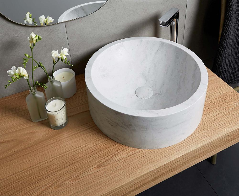 Corian top mounted basin - round
