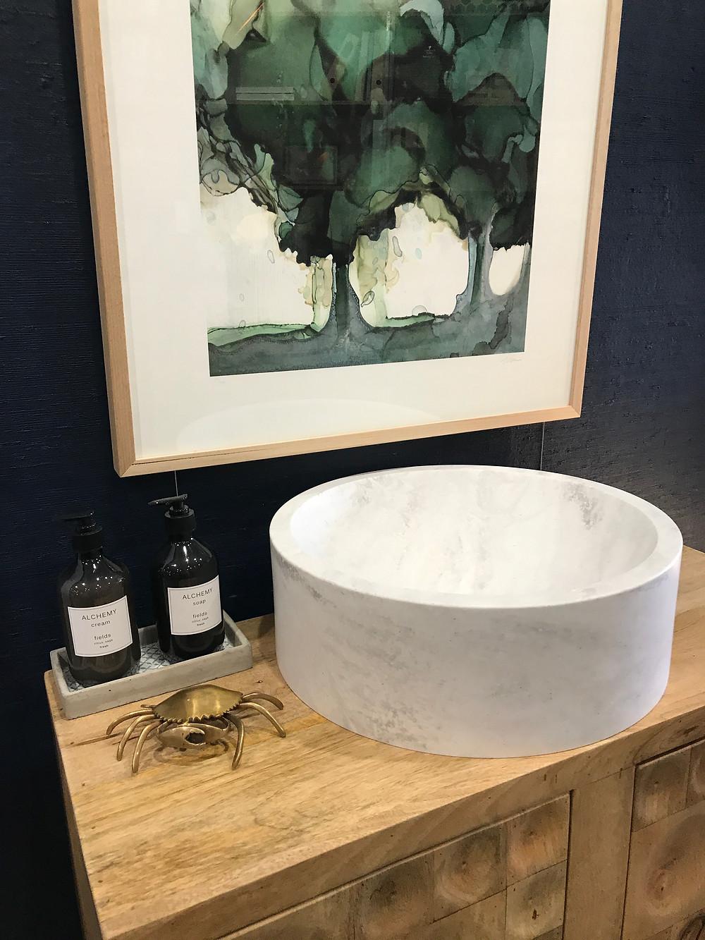 Corian top mounted round basin