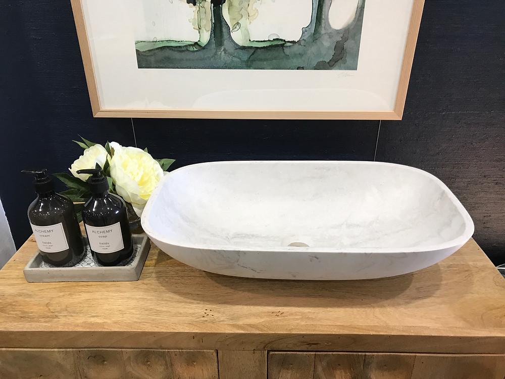 Corian top mounted basin - rectangular