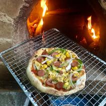 石窯アウトドアピザ作り