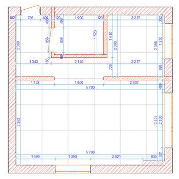 обмерный план, чертеж, дизайн интерьера однушки